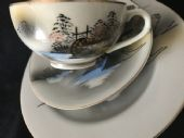 Kutani hand painted 'waterwheel' tea trio